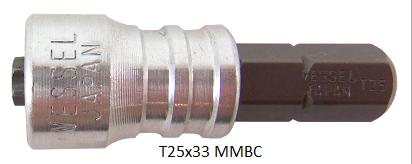 """Vessel Industriebit für Torx-Schrauben INSERT BIT - MAGNETIC RING 1/4"""" HEX C6.3 TX 25 X 33 (mm)"""