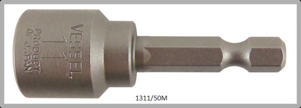 """10 Stück  Vessel magnetische HEX Steckschlüssel POWER BIT 1/4"""" HEX E6.3  A/F 11.0 X Ø17.0 X 50 (mm)"""
