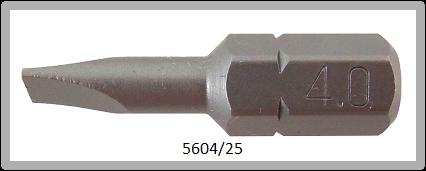 """Vessel Industriebit für Schlitz-Schrauben INSERT BIT 1/4"""" HEX E6.3 0.60xØ4.0 X 25 (mm)"""