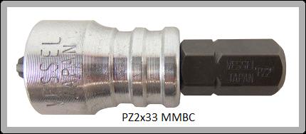 """Vessel Industriebit Pozidriv INSERT BIT - MAGNETIC RING 1/4"""" HEX C6.3 PZ 2 X 33 (mm)"""