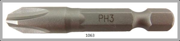 """Vessel Industriebit für Phillips-Schrauben POWER BIT 1/4"""" HEX E6.3  PH 3 X Ø8.0 X 49 (mm)"""