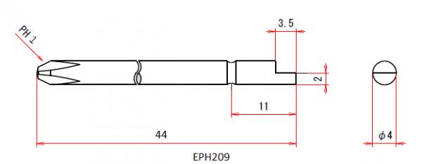 Vessel Industriebit für Phillips-Schrauben HALF MOON BIT Ø4mm PH 1 X Ø4.0 X 44 (mm)