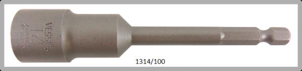"""10 Stück  Vessel HEX Steckschlüssel POWER BIT 1/4"""" HEX E6.3  A/F 14.0 X Ø20.0 X 100 (mm)"""
