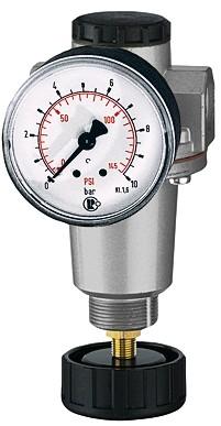 Druckregler mit Sekundärentlüftung, Manometer, BG 1, G 1/4 - 3/8, 0,5 - 10 bar