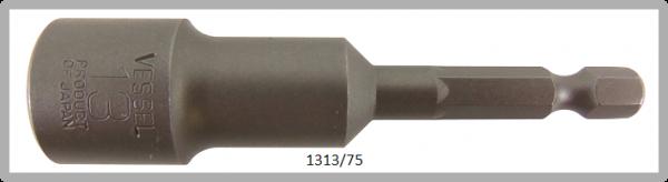 """10 Stück  Vessel HEX Steckschlüssel POWER BIT 1/4"""" HEX E6.3  A/F 13.0 X Ø19.0 X 75 (mm)"""