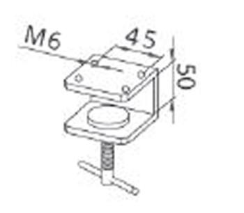 JC01 Tischklemme für LED Maschinenleuchten; Lochabstand im Lampensockel 45 mm