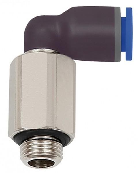 Push-in L-fitting »Blue Series« long, rotating, M5 o., Ø 4 - 6 mm