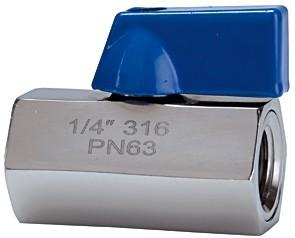 Mini-Kugelhahn, Edelstahl 1.4401, IG/IG - AG/AG, G 1/4 - 1/2, DN 7 - 9,2