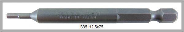 """10 Stück Vessel Industriebit Hexagonal-Schrauben POWER BIT 1/4"""" HEX E6.3 HEX 2.5 X Ø7.0 X 75 (mm)"""