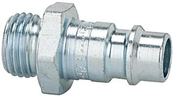 Nippel f. Kuppl. NW 7,2 - 7,8, Stahl gehärtet/verz., G 1/8 - 1/2 AG/IG, 0 - 35 bar