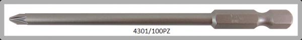 """Vessel Industriebit für Pozidriv-Schrauben POWER BIT 1/4"""" HEX E6.3  PZ 1 X Ø4.50 X 100 (mm)"""