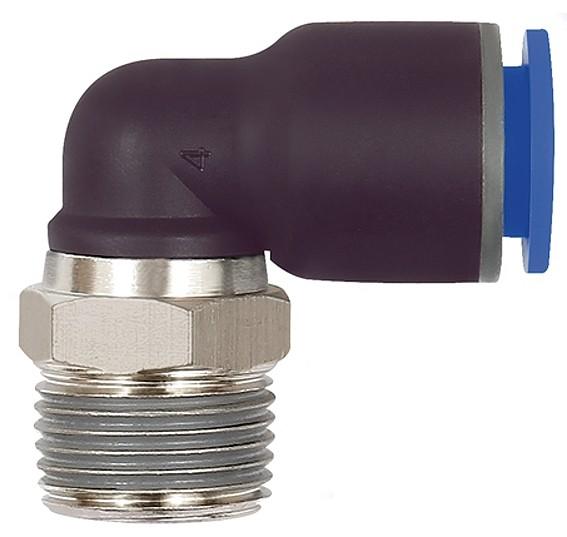 L-Steckverschraubung »Blaue Serie«, drehbar, R 3/8 - 1/2 außen, Ø 6 - 16 mm