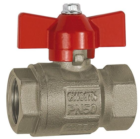 Ball valve, Basic design, IT/IT, nickel-plated brass, G 1/4 - 1 1/4