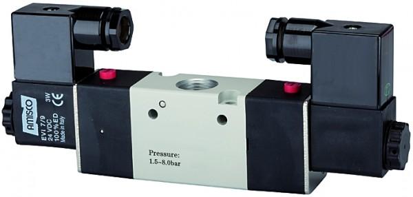3/2-way valve, electropneumatic, »3V«, bistable, M5 - G 1/8 - 3/8, 24 V DC