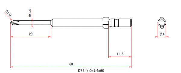 Vessel Industriebit für Phillips-Schrauben WING SHANK BIT Ø4mm PH 0 X Ø1.4 X 20 X 60 (mm)