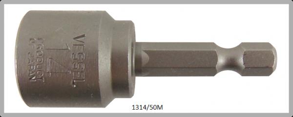 """10 Stück  Vessel magnetische HEX Steckschlüssel POWER BIT 1/4"""" HEX E6.3  A/F 14.0 X Ø20.0 X 50 (mm)"""