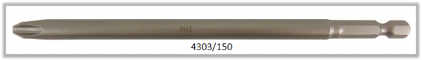 "Vessel Industriebit für Phillips-Schrauben POWER BIT 1/4"" HEX E6.3  PH 3 X Ø8.0 X 150 (mm)"