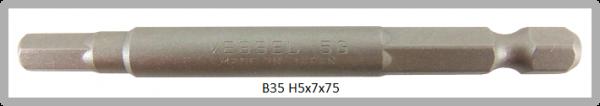 """10 Stück Vessel Industriebit Hexagonal-Schrauben POWER BIT 1/4"""" HEX E6.3  HEX 5.0 X Ø7.0 X 75 (mm)"""