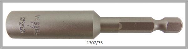 """10 Stück  Vessel HEX Steckschlüssel POWER BIT 1/4"""" HEX E6.3  A/F 7.0 X Ø13.0 X 75 (mm)"""