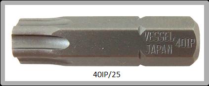 """Vessel Industriebit für Torx-Plus-Schrauben INSERT BIT 1/4"""" HEX E6.3 40IP X 25 (mm)"""