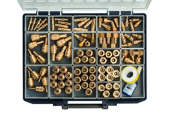 Assortment box with quick disconnect couplings and push-in plugs
