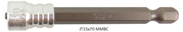 """Vessel Industriebit für Torx-Schrauben POWER BIT - MAGNETIC RING 1/4"""" HEX E6.3 TX 15 X 70 (mm)"""