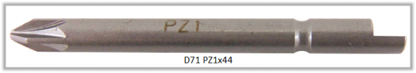 Vessel Industriebit für Pozidriv-Schrauben HALF MOON BIT Ø4mm PZ 1 X Ø4.0 X 44 (mm)