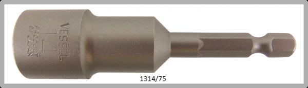 """10 Stück  Vessel HEX Steckschlüssel POWER BIT 1/4"""" HEX E6.3  A/F 14.0 X Ø20.0 X 75 (mm)"""