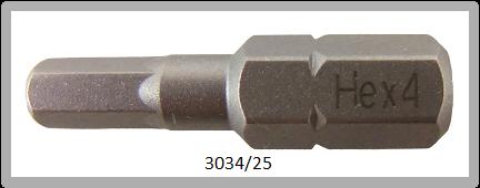 """10 Stück Vessel Industriebit Hexagonal-Schrauben INSERT BIT 1/4"""" HEX E6.3 HEX 4.0 X 25 (mm)"""