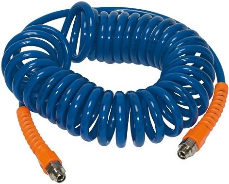 Spiral hose, Fitting, Kink protection spring, PU, G 3/8, Hose Ø 12x8, 3 - 7.5 m