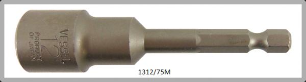 """10 Stück  Vessel magnetische HEX Steckschlüssel POWER BIT 1/4"""" HEX E6.3  A/F 12.0 X Ø19.0 X 75 (mm)"""