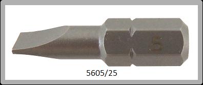 """Vessel Industriebit für Schlitz-Schrauben INSERT BIT 1/4"""" HEX E6.3 0.75xØ5.0 X 25 (mm)"""