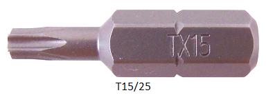 """Vessel Industriebit für Torx-Schrauben INSERT BIT 1/4"""" HEX E6.3 TX 15 X 25 (mm)"""