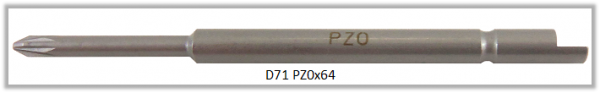 Vessel Industriebit für Pozidriv-Schrauben HALF MOON BIT Ø4mm PZ 0 X Ø2.5 X 20 X 64 (mm)