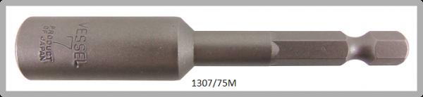 """10 Stück  Vessel magnetische HEX Steckschlüssel POWER BIT 1/4"""" HEX E6.3  A/F 7.0 X Ø13.0 X 75 (mm)"""