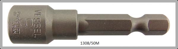 """10 Stück  Vessel magnetische HEX Steckschlüssel POWER BIT 1/4"""" HEX E6.3  A/F 8.0 X Ø13.0 X 50 (mm)"""