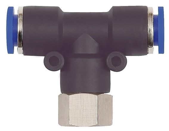 T-Steckverschraubung »Blaue Serie«, drehbar, G 3/8 innen, Ø 6 - 10 mm