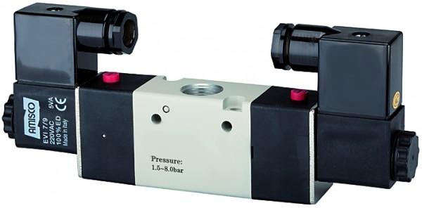 3/2-way valve, electropneumatic, »3V«, bistable, M5 - G 1/8 - 3/8, 230V, 50 Hz