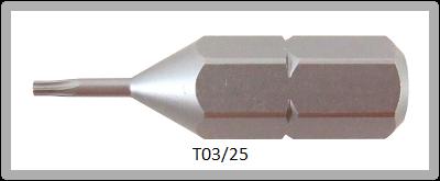 """Vessel Industriebit für Torx-Schrauben INSERT BIT 1/4"""" HEX E6.3  TX 3 X 25 (mm)"""