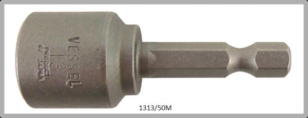 """10 Stück  Vessel magnetische HEX Steckschlüssel POWER BIT 1/4"""" HEX E6.3  A/F 13.0 X Ø19.0 X 50 (mm)"""