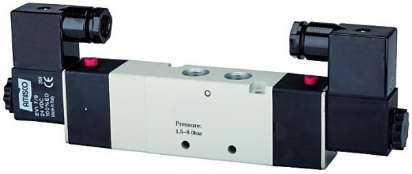 5/3-way valve, electropneumatic, »4V« Centre vented, M5 - G 1/8 - 1/2, 24 V DC