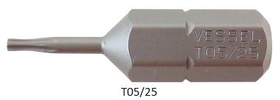 """Vessel Industriebit für Torx-Schrauben INSERT BIT 1/4"""" HEX E6.3  TX 5 X 25 (mm)"""
