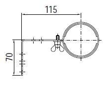 Mounting bracket 115 mm for WIDE1 LED machine light 2 pieces