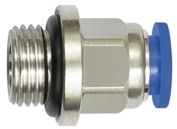 Straight push-in fitting »Blue Series« mini, M5 - M6 o., hose ext. Ø 6