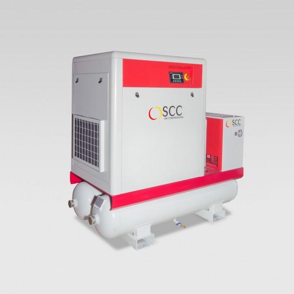 Schraubenkompressor Flexi TD auf Behälter mit Trockner