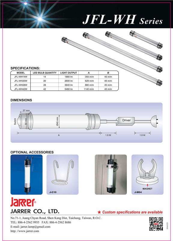 Jarrer JFL-WH14W LED Maschinenleuchte IP67; 24 Volt; 14 Watt; Leuchtwinkel 120°