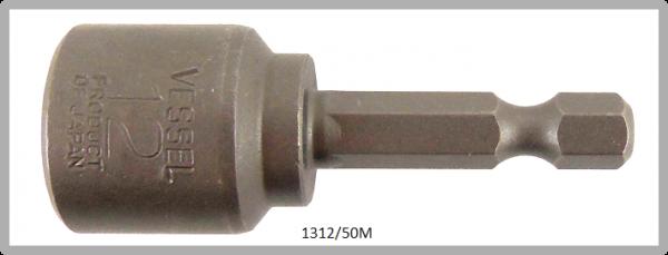 """10 Stück  Vessel magnetische HEX Steckschlüssel POWER BIT 1/4"""" HEX E6.3  A/F 12.0 X Ø19.0 X 50 (mm)"""