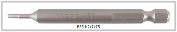 """10 Stück Vessel Industriebit Hexagonal-Schrauben POWER BIT 1/4"""" HEX E6.3  HEX 2.0 X Ø7.0 X 75 (mm)"""