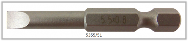 """Vessel Industriebit für Schlitz-Schrauben POWER BIT 1/4"""" HEX E6.3 0.8xØ5.5 X 51 (mm)"""