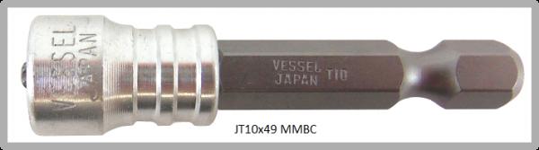 """Vessel Industriebit für Torx-Schrauben POWER BIT - MAGNETIC RING 1/4"""" HEX E6.3 TX 10 X 49 (mm)"""